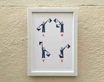 Love framed Semaphore