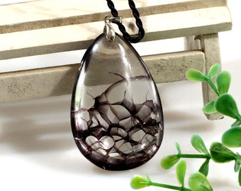 Natural Rare black rutilated quartz Semi Precious Polished Stone Healing#398