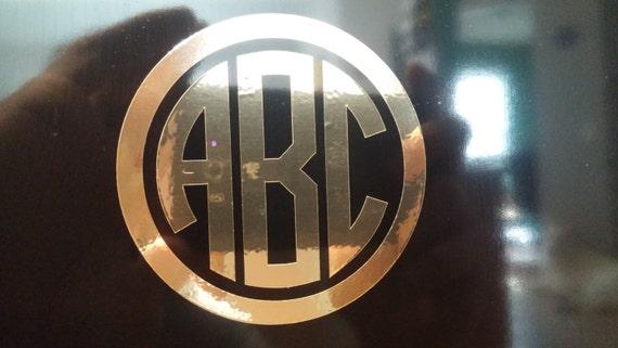 GOLD CHROME Custom Circle Monogram Initials Vinyl Decal - Chrome custom vinyl decals for trucks