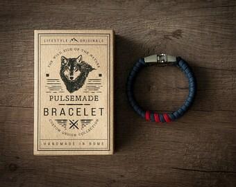 Bracelet men-Women's Blue ship > > > Imperial Red Unisex-Handmade Pulsemade paracord Mens-Womens Blue Navy > > > Imperial Red