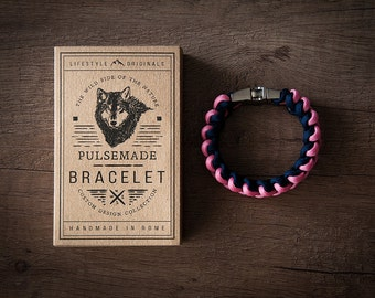 Men's bracelet-pink woman-blue unisex Night-Pulsemade Xark Collection-Handmade paracord 550 bracelet Mens-Womens rose pink-Midnight Blue