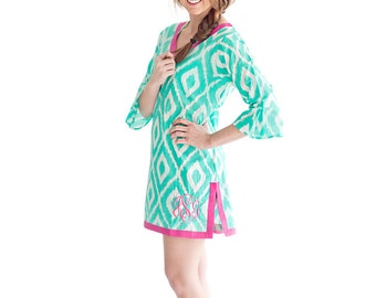 Monogrammed Tunic Mint Ikat Tunic Mint Tunic Tunic Dress For Women Tunic Tops For Women Ladies Tunic Women's Tunic Personalized Tunic Top