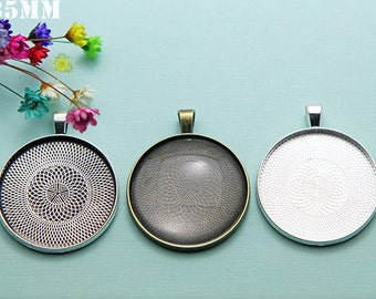35mm Round Pendant Tray Blanks-Bezel Setting-35mm Round Blank Bezel Cabochon Setting-Round Bezel Blanks-4 Color-Choose Qty