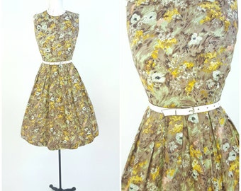 50's 60's day dress / floral, brown, mint green, yellow / sz M (B 36 W 31/ 32) 1950's cotton sleeveless dress / abstract  floral print