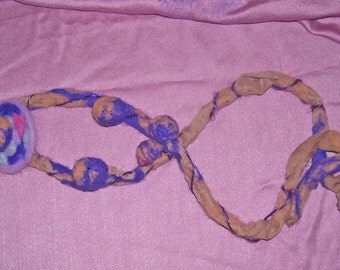Purple felted  necklace