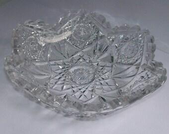 Vintage EAPG Flint Glass Small Bowl Scalloped Dish Sunburst Cut Grooved Pattern
