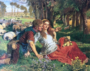 THE HIRELING SHEPHERD by William Holman Hunt,Victorian Picture of Flirtation,Scene of Rustic Flirtation,Summer Landscape,Print of Romance