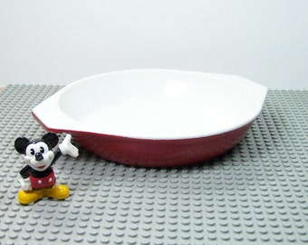 Enameled cast iron red oven dish Emalco 701 Made in Switzerland 1980