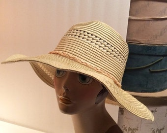 50% Off Sale Vintage Yellow Wide Brim Floppy Straw Summer Hat/1970's