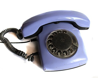 Violet Vintage Rotary Phone from 80s