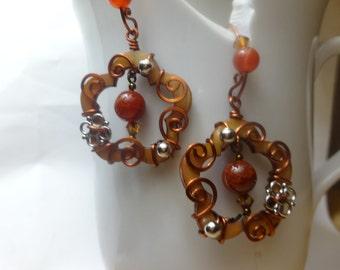 Flower with Arabesque-Style Vines Earrings