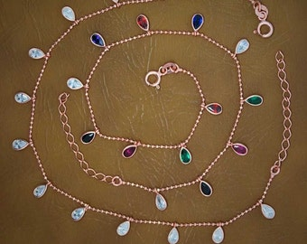 Silver drops anklet