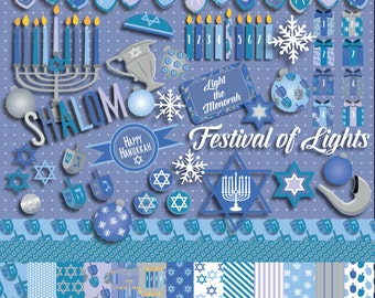 Light the Menorah - Hanukkah Clip Art