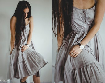 Casual Grey Cotton Dress With Buttons