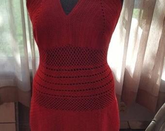 Hand Crochet  Summer Dress L/XL
