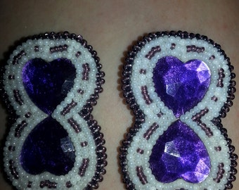 Purple/white double heart post earrings