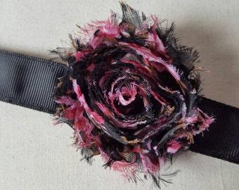 Blavk and Pink Shabby Flower Non Slip Headband, No Slip headband, Floral, Flower, Athletic Headbands, Running Headbands, Swanky Bands