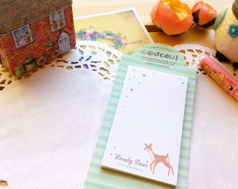 Yoofun Cute LOVELY DEER Memo Pad/ Desk Notepad/Flower Sticker Notes/1 PC
