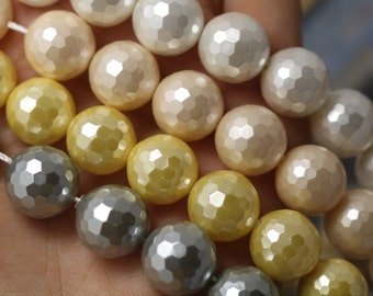 10mm South Sea Shell Pearls Round Beads,128 faceted Round Beads,15 inches 1 strand