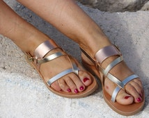 Gladiator style -Strappy leather Sandals - Copper Gold Silver Leather Sandals - Ancient Greek Macedonian Leather Sandals Handmade