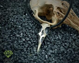 Raven Skull  Sterling Silver Pendant