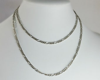 """Long Sterling Silver Chain - Vintage Sterling Figaro 32"""" Chain - Silver Necklace 20g 925"""