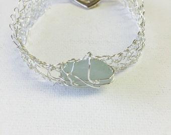 Hawaii Aqua Sea Glass Silver Wire Crochet Bracelet
