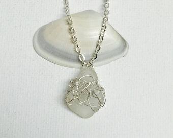 Hawaii White Sea Glass Silver Wire Crochet Pendant
