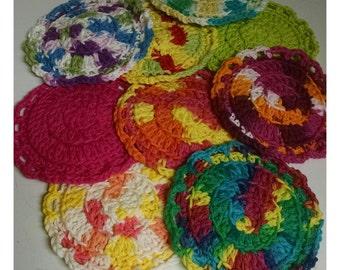 Face Scrubbie Set Of 3/Crocheted Scrubbies/Face Cloth