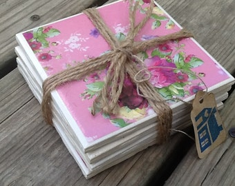 Set of 4 Ceramic Tile Coasters Flowers/Floral