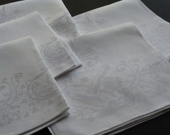 Irish Linen Damask Lunch Napkins with Traditional Pattern, Five