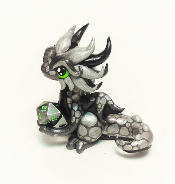 Polymer Clay Dragon Dice Holder- Gunmetal Grey, Steel Grey, and Silver Dragonling: Flint