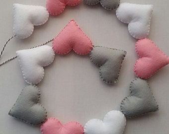 Heart garland, mini bunting, heart bunting, nursery decor, wall decor, bedroom decor, pastel nursery, baby girl bedroom, newborn baby gift