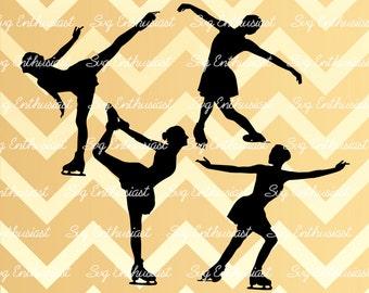 Figure Skating SVG, Ice skating svg, Women skater SVG, Woman skating Silhouette, Dxf, Png, Vinyl, Eps, Cut Files, Clip Art, Vector,