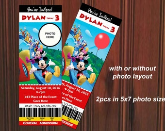 Mickey Mouse Invitation. Mickey Mouse Birthday. Mickey Mouse Clubhouse Invitation. Ticket Style. Digital (you print)