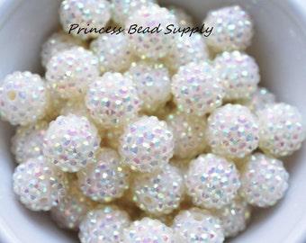 16mm Ivory AB Rhinestone Chunky Beads Set of 10,  Bubble Gum Beads, Gumball Beads, Acrylic Beads