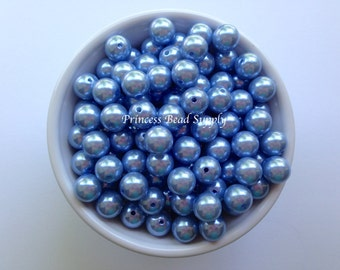 12mm Light Blue Pearl Beads Set of 20 or 50,  Light Blue Pearl Beads, Chunky Bubble Gum Beads, Gumball Beads, Acrylic Beads