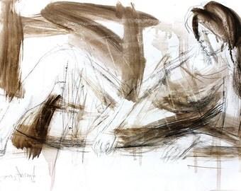 Woman sketch, Giclee print, Charcoal drawing, Woman wall art print, Wall decor print, Figurative Artwork, Fine art print, Graphic art print