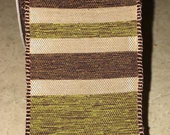 "1.5"" Brown Beige & Green Stripe Ribbon Wire-edged 9 Feet"