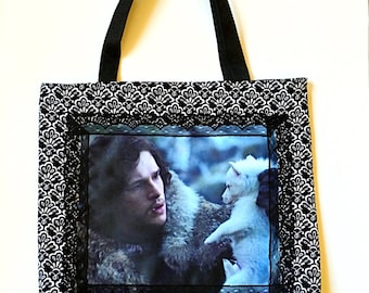 Jon Snow and Ghost Game of Thrones Tote Bag Purse