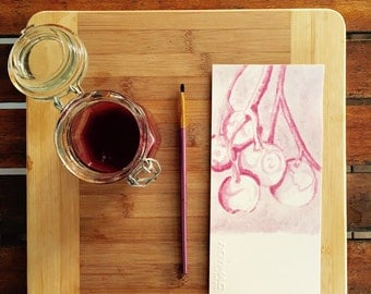 Berry Art, original Organic painting used with berry juice. Beautiful watercolour. 5 sheets of paper