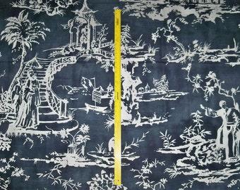 SCALAMANDRE CHINOISERIE PAGODA Palace Toile Linen Fabric 10 Yards Charcoal