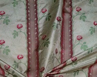 CLARENCE HOUSE Shabby Roses MAITLAND French Lisere Silk Damask Fabric 50 Yard Bolt Cream Ruby Opal