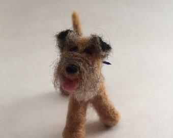 Needle-Felted Border Terrier Dog Sculpture