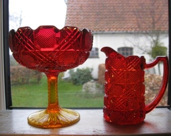 """Very Rarely Red Glass Sugar and Cream """"Fyns Glassworks"""" Denmark 1924"""