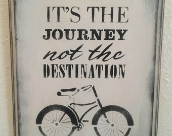 It's The Journey Not the Destination Wooden Sign 8 1/2 x 11 White and Black
