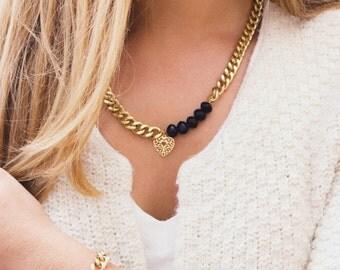Unique necklace, gold necklace, black crystals, gold heart necklace, black and gold, heart necklace