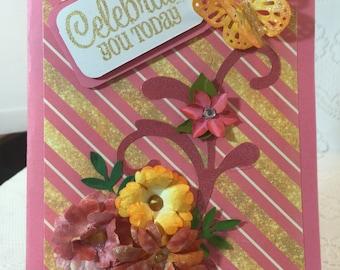 Birthday, Handmade, Greeting Card, Envelope included, Elegant