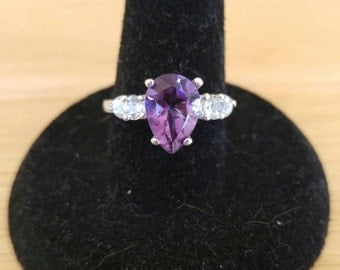 10x7 Pear African Amethyst and White Topaz Sterling Silver Ring Size 7