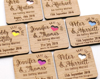 Save the date magnet, wooden save the dates, wooden wedding magnets, coloured hearts